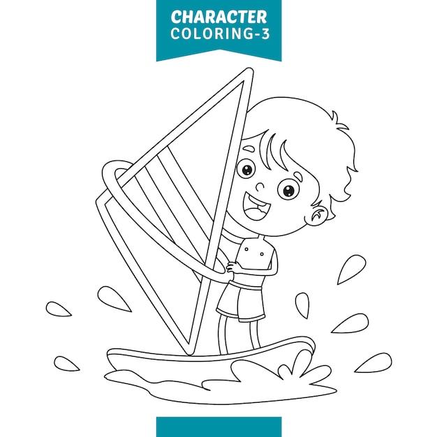 Vektor-illustration der zeichen-farbtonseite Premium Vektoren