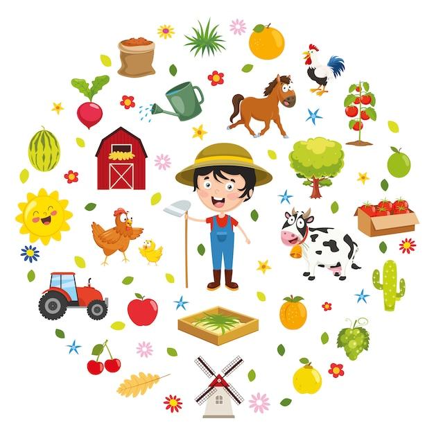 Vektor-illustration des kinderfarm-konzeptes Premium Vektoren