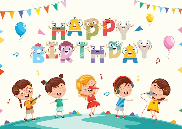 Vektor-illustration des kindergeburtstags-party-hintergrundes Premium Vektoren
