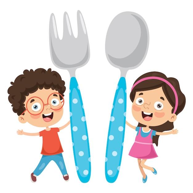 Vektor-illustration des kinderlebensmittelkonzeptes Premium Vektoren