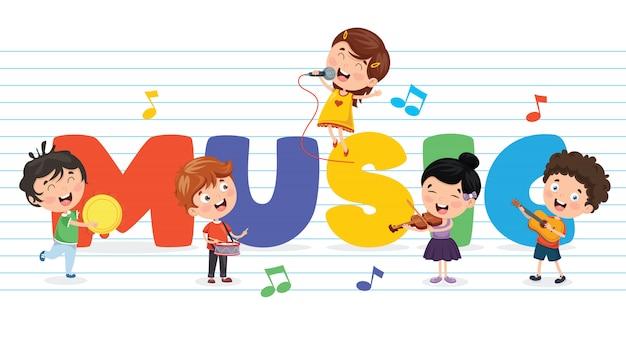 Vektor-illustration des kindermusik-hintergrundes Premium Vektoren
