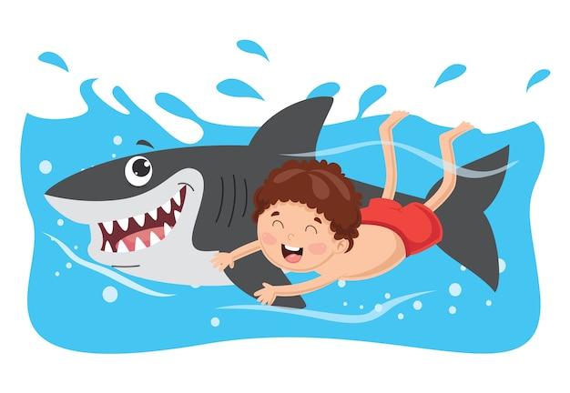 Vektor-illustration des kinderschwimmens mit haifisch Premium Vektoren