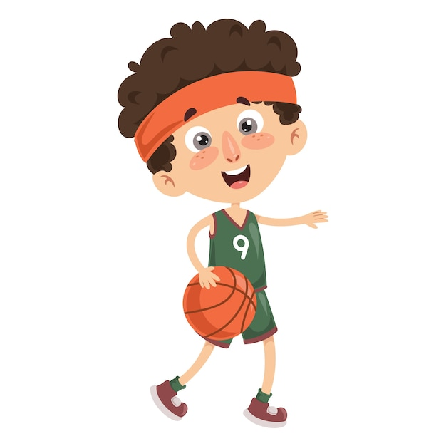 Vektor-illustration des kindes basketball spielend Premium Vektoren
