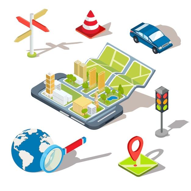 Vektor-Illustration des Konzepts der Verwendung der mobilen Anwendung der globalen Positionierung System. Kostenlose Vektoren