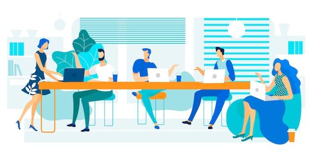 Vektor-illustration, die große lange tabelle coworking ist. Premium Vektoren