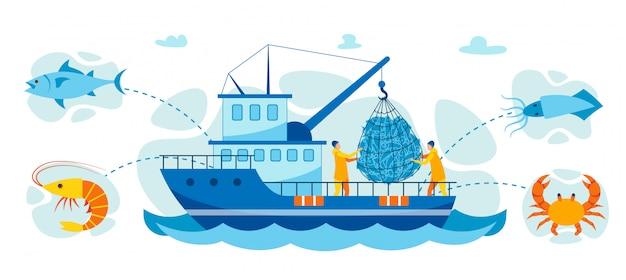 Vektor-illustration, die krabben und meeresfrüchte fängt. Premium Vektoren