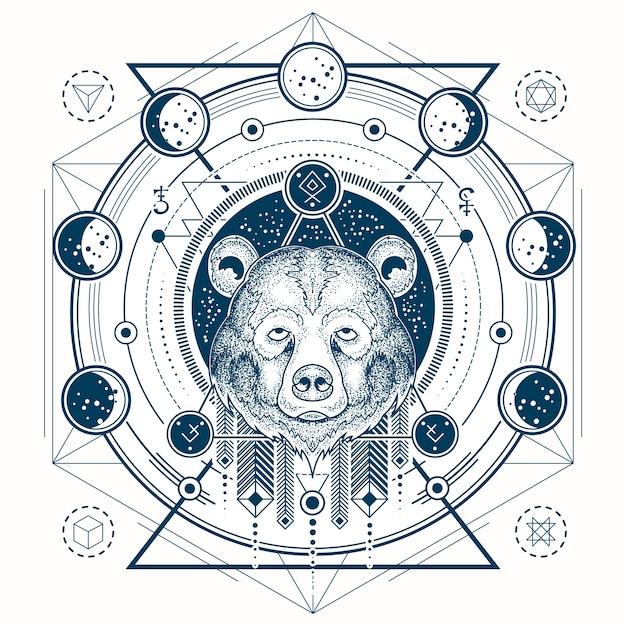 Vektor-illustration einer geometrischen tattoo vorderansicht eines bären s kopf und mond phasen Kostenlosen Vektoren