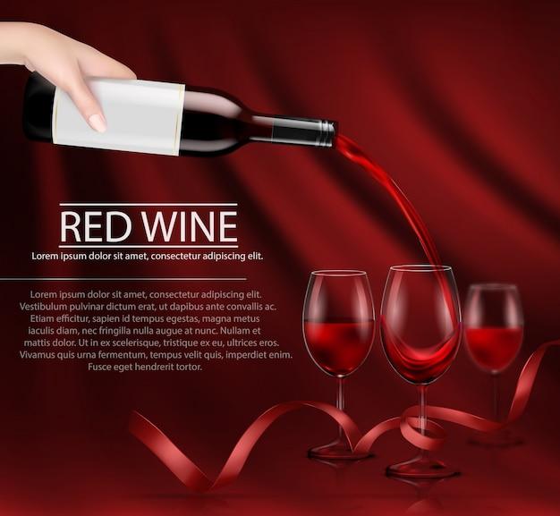Vektor Illustration Einer Hand Hält Eine Glas Weinflasche Und Gießt