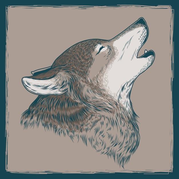 Vektor-illustration eines heulenden wolfs Kostenlosen Vektoren