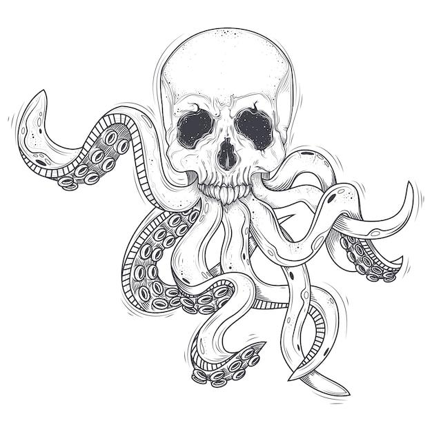 Vektor-illustration eines menschlichen schädels mit tentakeln Kostenlosen Vektoren
