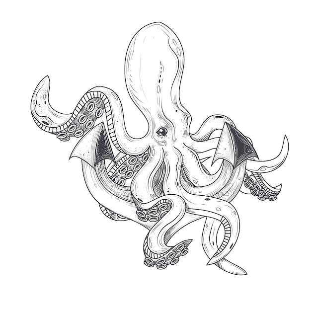 Vektor-illustration eines oktopus umarmt tentakeln eines schiffe anker Kostenlosen Vektoren