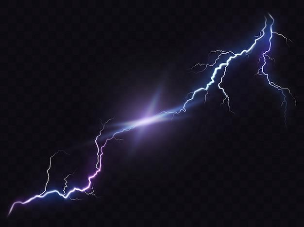 Vektor-illustration eines realistischen stil der hellen leuchtenden blitz isoliert auf einem dunklen, natürlichen lichteffekt. Kostenlosen Vektoren