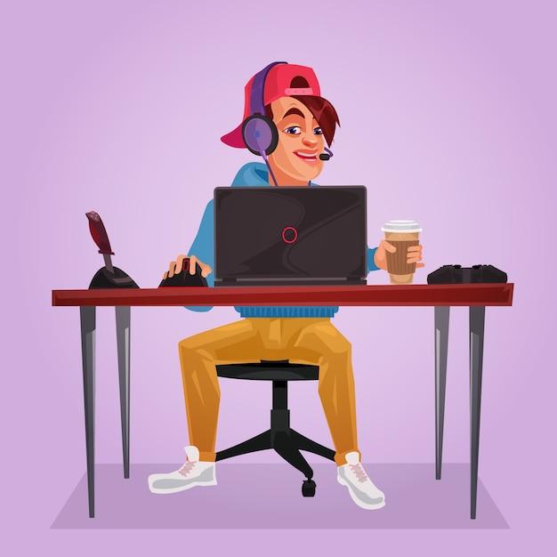 Vektor-illustration eines teenagers sitzen am laptop Kostenlosen Vektoren