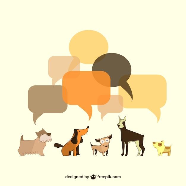 Vektor-illustration hunde sprechblasen Kostenlosen Vektoren