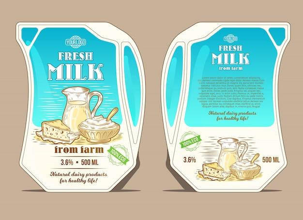 Vektor-illustration in der gravur-stil, design-verpackung für milch, schlanke packung in form eines kruges Kostenlosen Vektoren