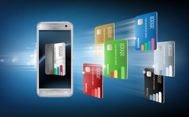 Vektor-illustration in einem realistischen stil das konzept der mobilen zahlungen mit der anwendung auf ihrem smartphone. Kostenlosen Vektoren