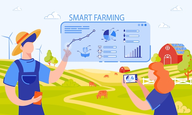 Vektor-illustration inschrift smart farming. Premium Vektoren