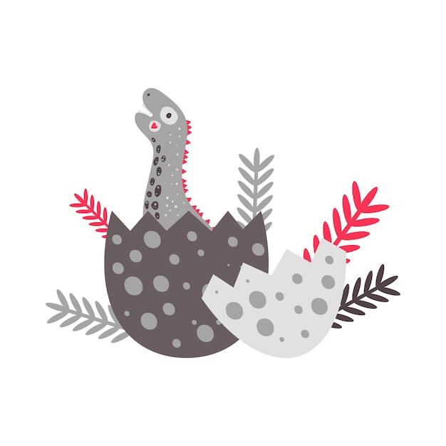 Vektor-illustration kindergarten niedlicher druck mit dinosaurier diplodocus. alles gute zum geburtstag. ein ei schlüpfen. für kinder t-shirts, poster, banner, grußkarten. Premium Vektoren