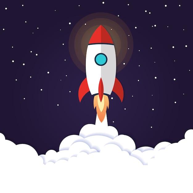 Vektor-illustration konzept raketenstart Premium Vektoren
