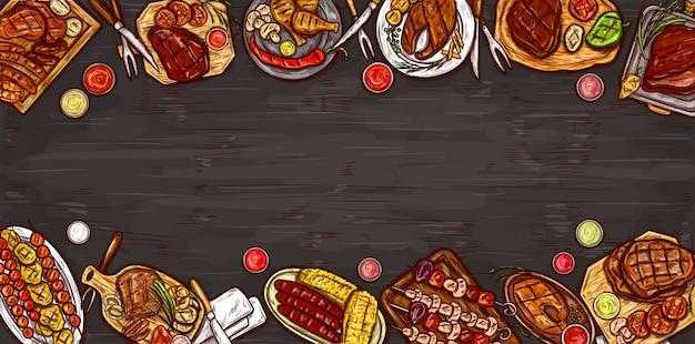 Vektor-illustration, kulinarische banner, barbecue-hintergrund mit gegrilltem fleisch, wurst, gemüse und saucen. Kostenlosen Vektoren