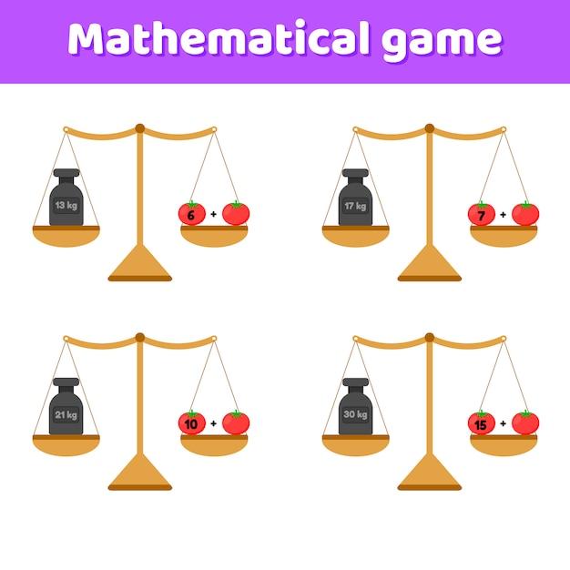 Vektor-illustration mathe-spiel für kinder im schul- und vorschulalter. waagen und gewichte. zusatz. gemüse tomaten. Premium Vektoren