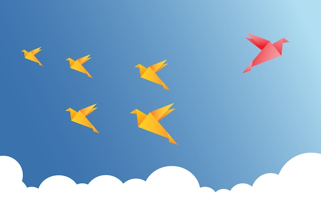 Vektor-illustration mit origami Premium Vektoren