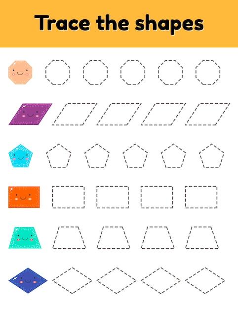 Vektor-illustration pädagogisches arbeitsblatt zur verfolgung von kindern im kindergarten, vorschulalter und im schulpflichtigen alter. verfolge die süße geometrische form. gestrichelt. Premium Vektoren