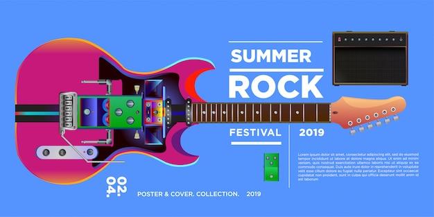 Vektor-illustration rockmusik und gitarrenfestival Premium Vektoren