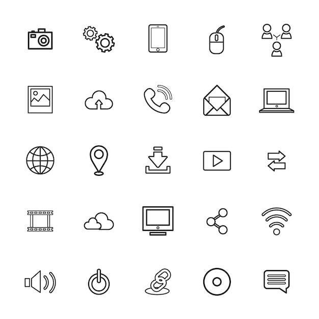 Vektor-illustration ui-technologie-ikonen-konzept Kostenlosen Vektoren