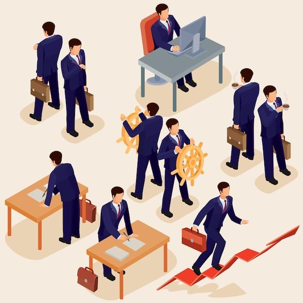 Vektor-illustration von 3d flach isometrischen menschen. das konzept eines geschäftsführers, lead manager, ceo. Kostenlosen Vektoren