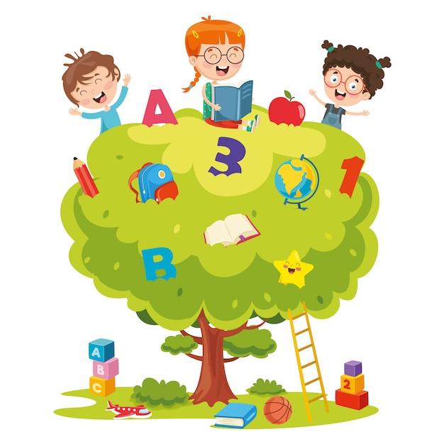Vektor-illustration von den kindern, die auf baum studieren Premium Vektoren