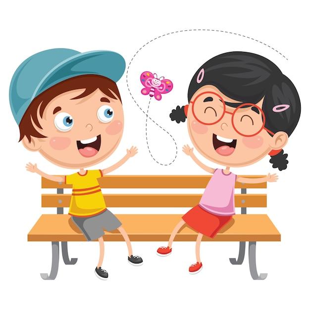 Vektor-illustration von den kindern, die auf park-bank sitzen Premium Vektoren