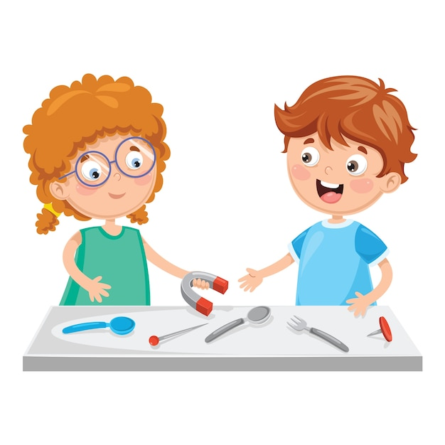 Vektor-illustration von den kindern, die magneten verwenden Premium Vektoren