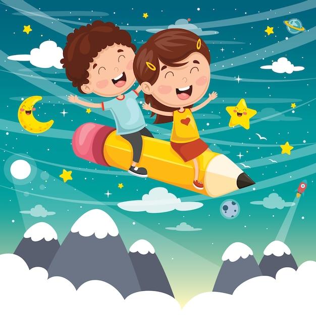 Vektor-illustration von den kindern, die mit bleistift fliegen Premium Vektoren