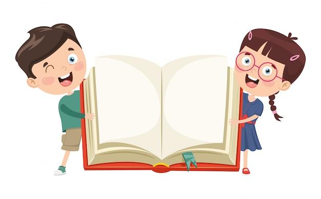 Vektor-illustration von den kindern, die offenes buch zeigen Premium Vektoren