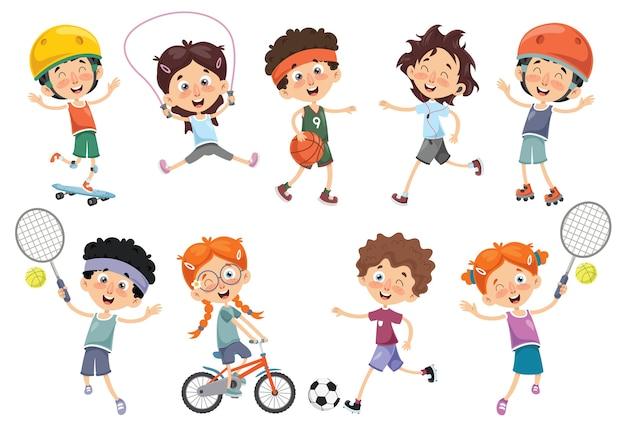 Vektor-illustration von den kindern, die sport machen Premium Vektoren