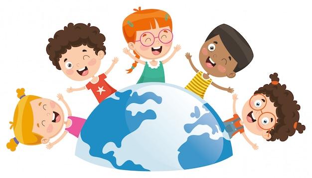 Vektor-illustration von den kindern, die um die welt spielen Premium Vektoren