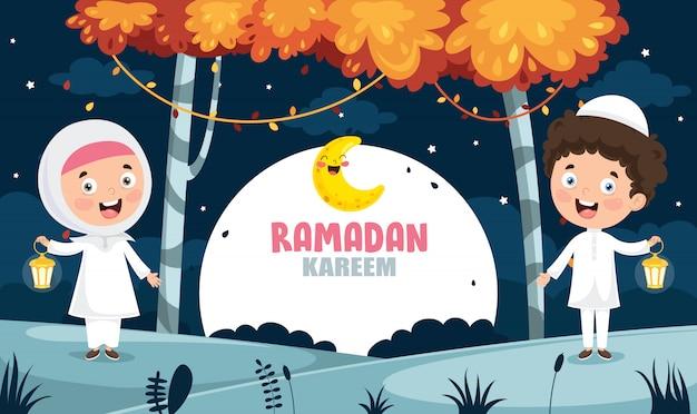 Vektor-illustration von den moslemischen kindern, die ramadan feiern Premium Vektoren