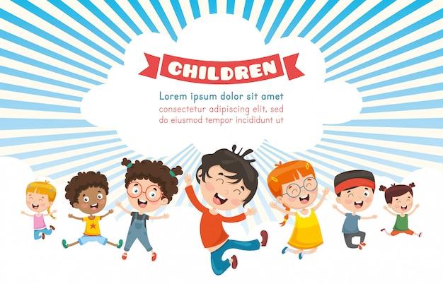 Vektor-illustration von glücklichen kindern Premium Vektoren