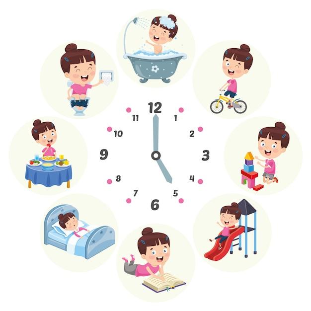 Vektor-illustration von kinder-täglichen routinetätigkeiten Premium Vektoren
