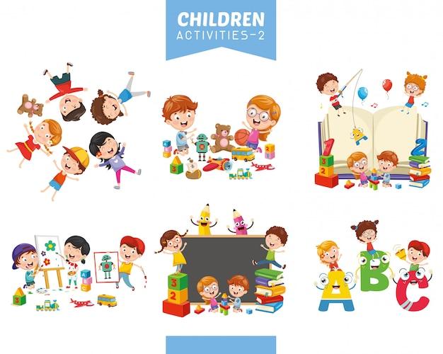 Vektor-illustration von kinderaktivitäten eingestellt Premium Vektoren