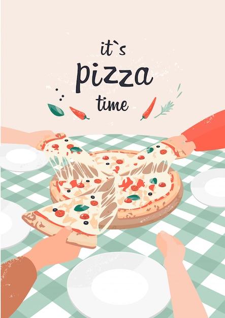 Vektor-illustration von pizza mit text, es ist pizzazeit Premium Vektoren