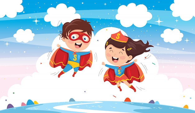Vektor-illustration von superhelden Premium Vektoren