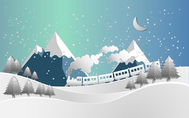 Vektor Illustration Zug Und Schnee Landschaft