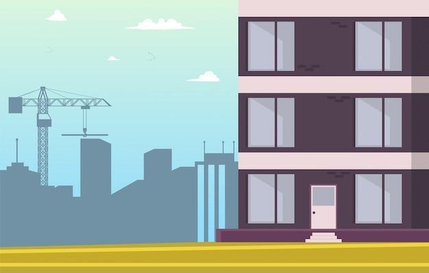 Vektor-illustrations-karikatur, die neues haus errichtet Kostenlosen Vektoren