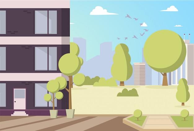 Vektor-illustrations-karikatur-gebäude im parkbereich Kostenlosen Vektoren