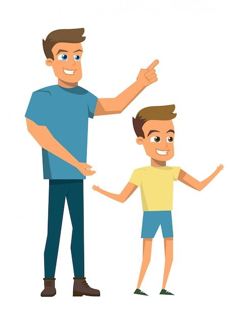 Vektor-illustrations-karikatur-glückliches familien-konzept Premium Vektoren