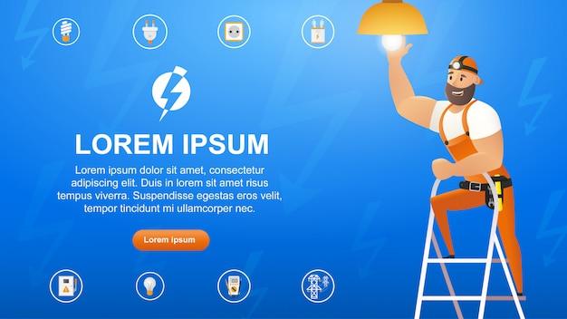 Vektor-illustrations-konzept-elektriker-service Premium Vektoren