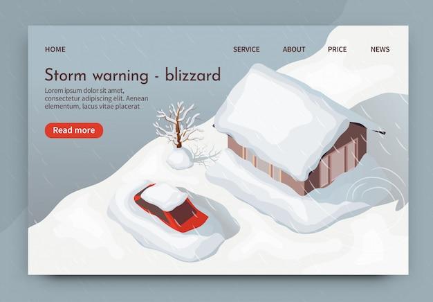 Vektor-illustrations-sturm-warnender blizzard 3d. Premium Vektoren