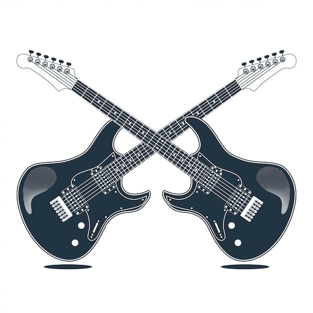 Vektor-illustrationsdesign der gitarre elektrisches instrument Premium Vektoren